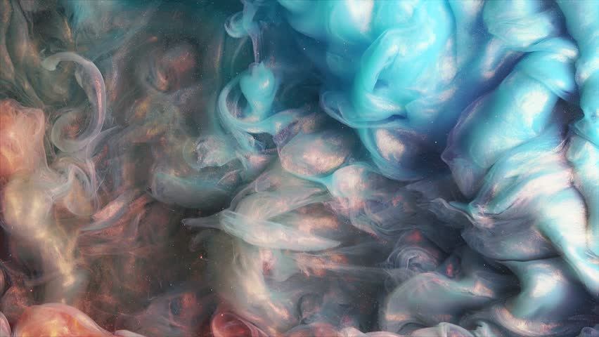 Colorful red/blue paint drops mixing in water. Ink swirling underwater. Colored acrylic cloud abstract smoke explosion animation. Close up view #32711773