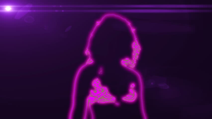 neon outlined gogo dancer silhouette in pink with lens flare #3272753