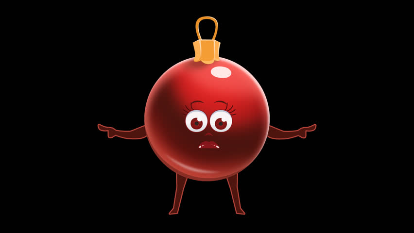Cartoon Red Christmas Ball Pointer Double Bad Pose Animation with Alpha Channel | Shutterstock HD Video #32737423