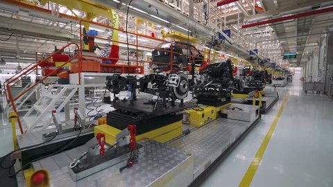 BELARUS, BORISOV - OCTOBER 19, 2017:Automobile plant, view of power units and engines for a new car, modern production of cars, assembly line of cars, October 19 in Belarus.