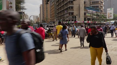 June, 2017 Nairobi, Kenya:Gimbal shot through crowded streets in Nairobi at peak hour. Kenya, Africa
