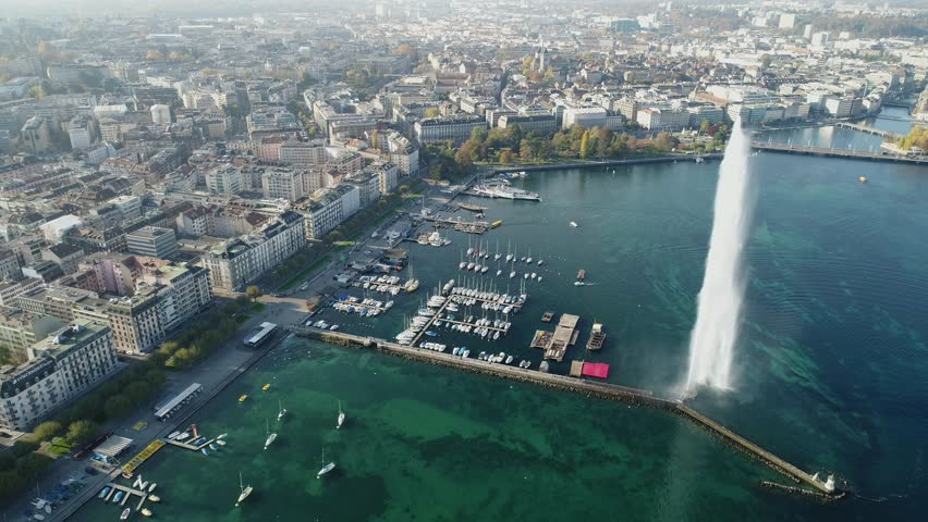 Aerial view of The Geneva Water Fountain (Jet d'Eau) in Geneva Lake, Switzerland.