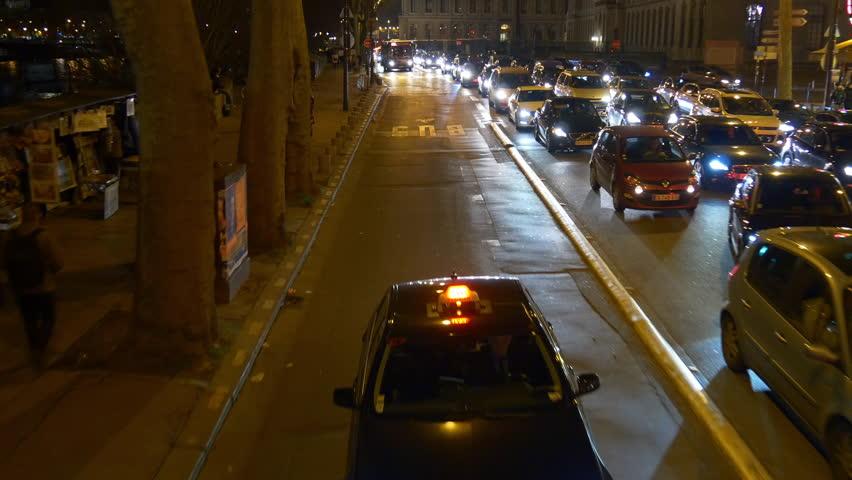 Night time illumination paris double-decker bus ride traffic street riverside panorama 4k france | Shutterstock HD Video #32763493