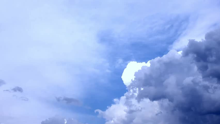 Clouds move in blue sky, cleat good weather. Time lapse clip of white fluffy clouds over blue sky, Beautiful white clouds soar across the screen in time lapse fashion over a deep blue background. #32807683