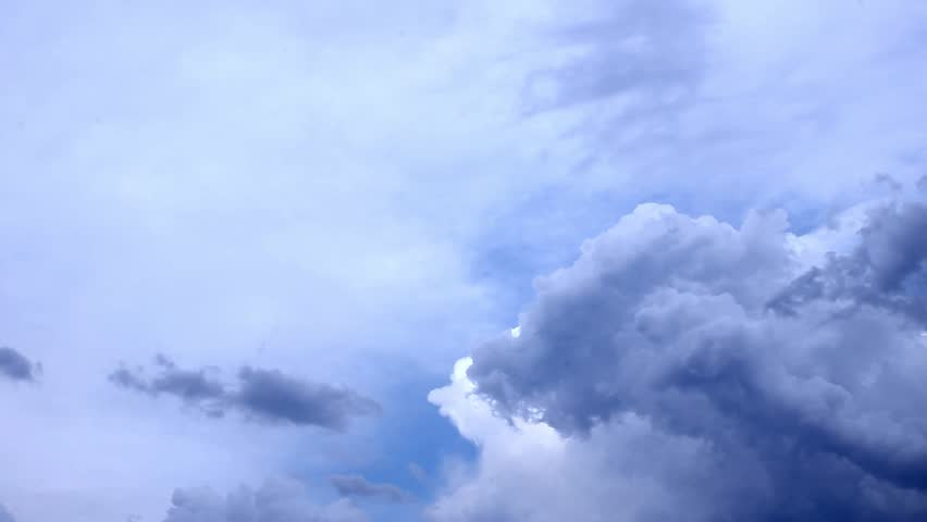 Clouds move in blue sky, cleat good weather. Time lapse clip of white fluffy  Beautiful soar across the screen in time lapse fashion over a deep blue background. :FHD. #32807683