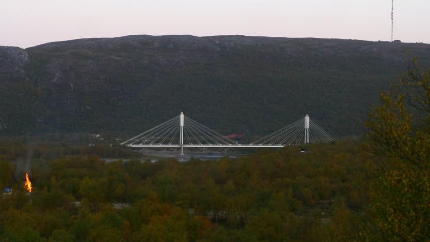 White bridge, Time lapse of the border bridge between norway and utsjoki town, on a sunny autumn day, Lapland, Lappi, Finland
