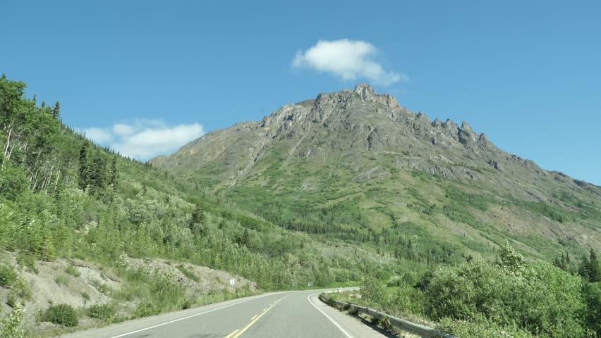 Canada Highway Summer Open Road Driving Plate POV Yukon