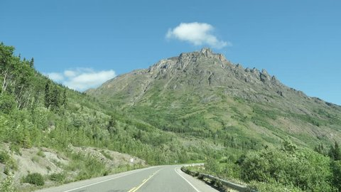 Canada Highway Summer Open Road Driving Plate POV Yukon