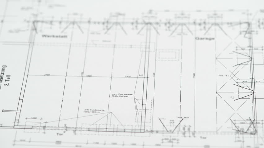 Place On An Architectural Drawing Blueprint A Triangle And A Pen