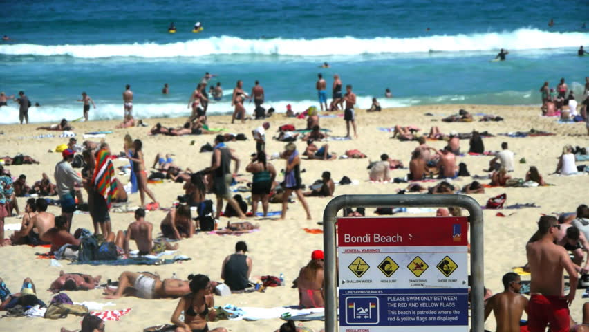 SYDNEY, AUSTRALIA - JAN 3: Bondi Beach on a busy summer day during the peak season in Sydney, Australia on January 3, 2013.