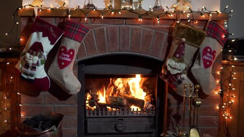 Christmas Fireplace, Stockings Hanging With Presents, Cozy Lounge With Log Fire