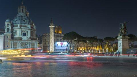 Le Domus Romane di Palazzo Valentini Rome time lapse video at night. Night street traffic in rome city.