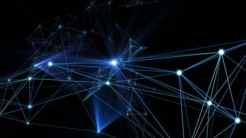 Plexus fantasy lines, dots and particles in organic motion with blue spotlights moving. Abstract technology, science and engineering motion background. Depth of field settings. 3D rendering.  | Shutterstock HD Video #32887933