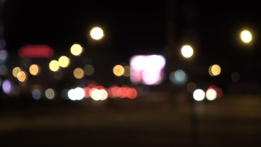 Defocused lights Los Angeles street abstract . City blur background. Moving bokeh circles of night traffic. | Shutterstock HD Video #32888464