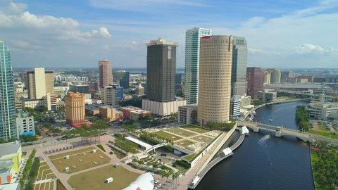 TAMPA, FL, USA - NOVEMBER 11, 2017: Aerial 4k Tampa Downtown stock video
