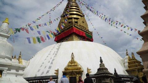 Swayambhunath or Monkey temple, Kathmandu, Nepal. The temple is protected as the UNESCO world heritage site.