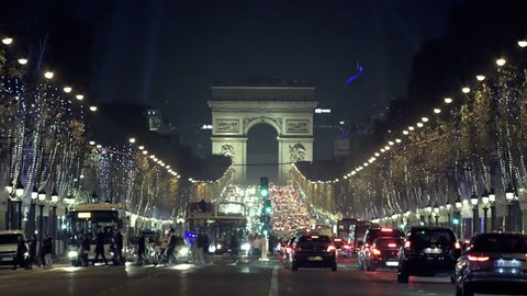 Christmas in Paris. Avenue des Champs-Elysees with Christmas lighting leading up to the Arc de Triomphe in Paris, France
