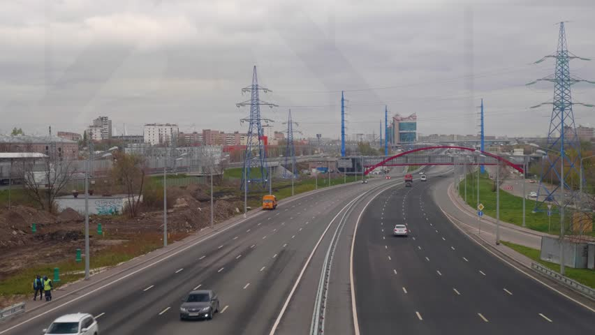 View from bridge of large city road with cars moving on it | Shutterstock HD Video #32927113