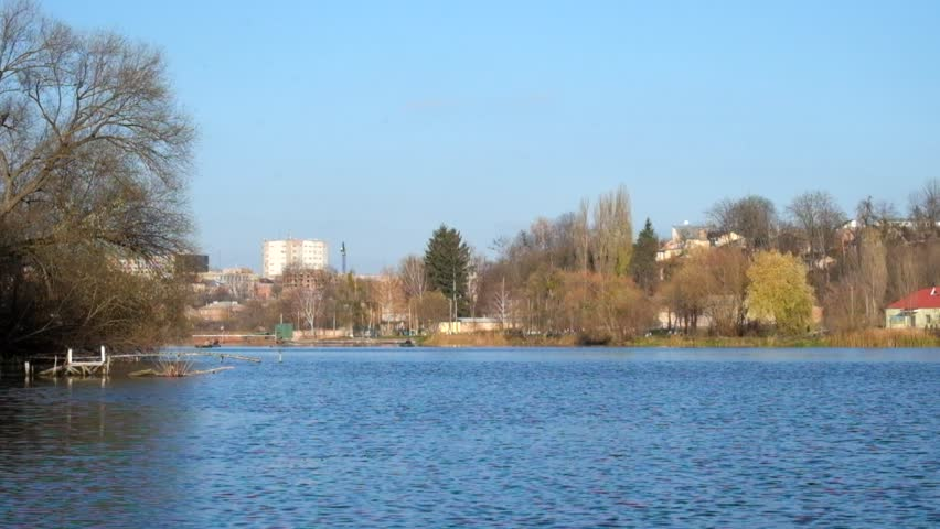 Southern Bug River in the district of water sports bases Dynamo and Spartak (Ukraine, Vinnitsa)