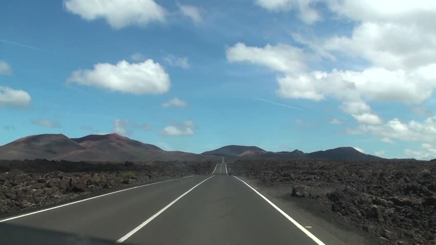 Cameracar on the road - The Fire Mountains, Timanfaya, Lanzarote, Canary Island, Spain, Europe