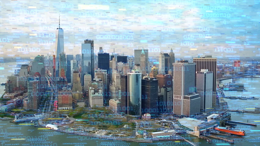 Big data over New York aerial shot. Futuristic city where every building, appliance, device and person is connected, forming a computer network  Perfect to illustrate: internet of things, smart cities | Shutterstock HD Video #32947333