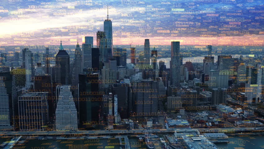 Big data over New York aerial shot. Futuristic city where every building, appliance, device and person is connected, forming a computer network  Perfect to illustrate: internet of things, smart cities | Shutterstock HD Video #32947336