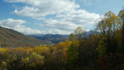 Highland view of Great Smoky Mountains in autumn