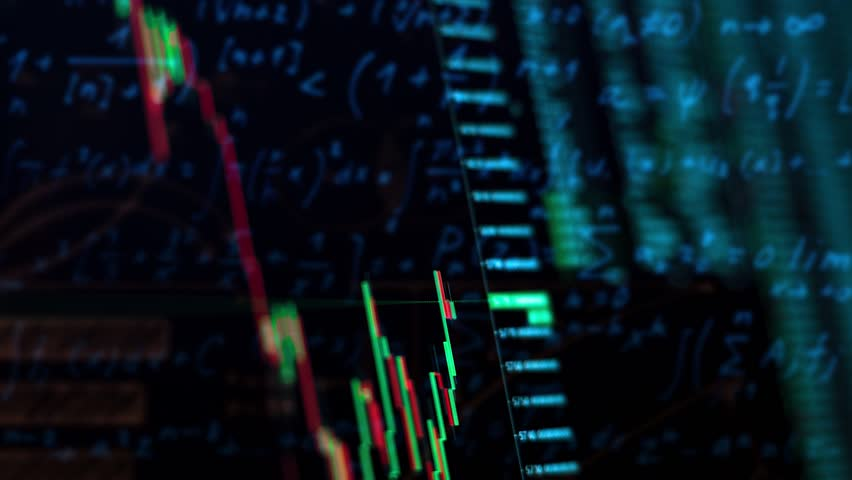 Electronic chart graph of the stock market fluctuations on the screen, the indices statistics | Shutterstock HD Video #32987992