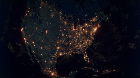 Zoom to united states of america. the night view of city lights. world Satellite Map United States Of America on map of alaska superimposed over usa, map of america at night from space, map of north uist scotland,