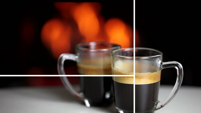 Split screen about the preparation of two cups of espresso coffee