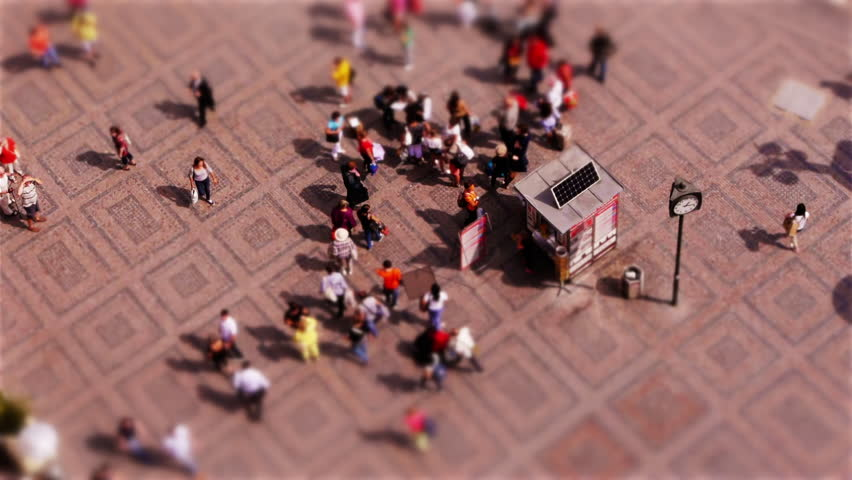 Miniature people on Old Town Square in Prague (Tilt-Shift)