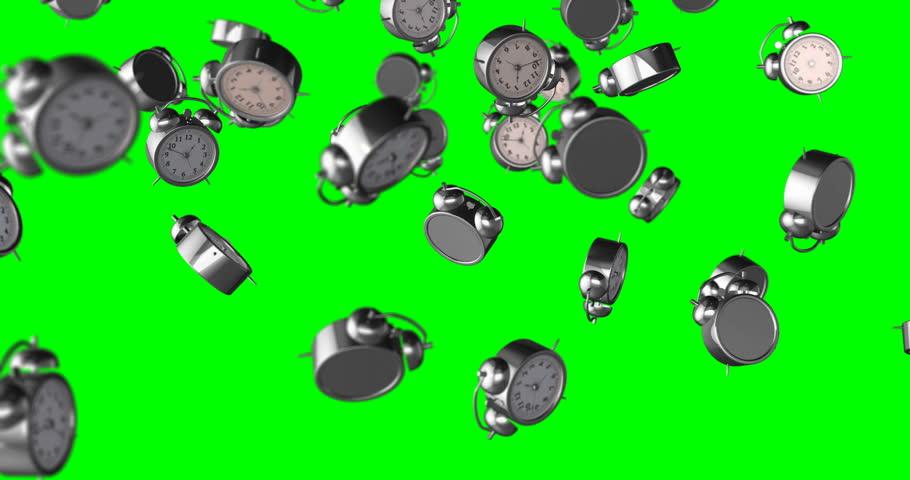 Alarm clock falling green screen | Shutterstock HD Video #33026203