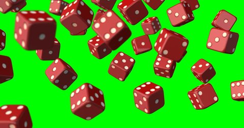dices falling green screen