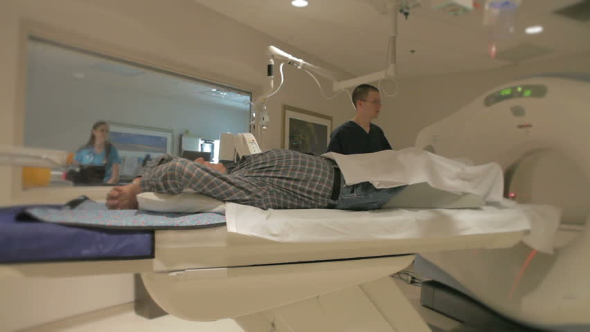 Man getting Cat Scan in hospital