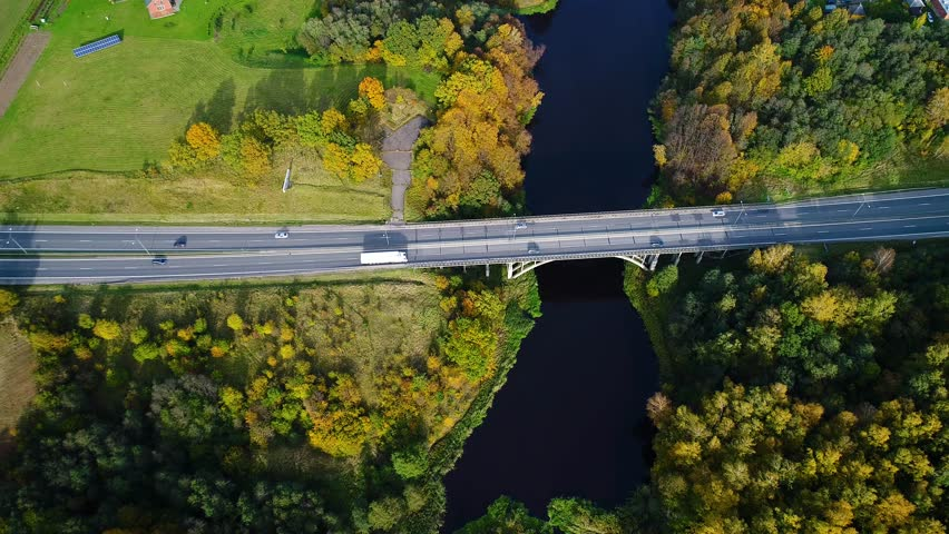 Aerial view of bridge over river   Shutterstock HD Video #33034783