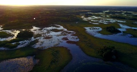 Aerial image in the Pantanal Biome. Flooded area at sunset. Vertical panoramic from the top to the bottom. Forest area in the background. Orange Pink sky. Mato Grosso do Sul state, Central-Western - B