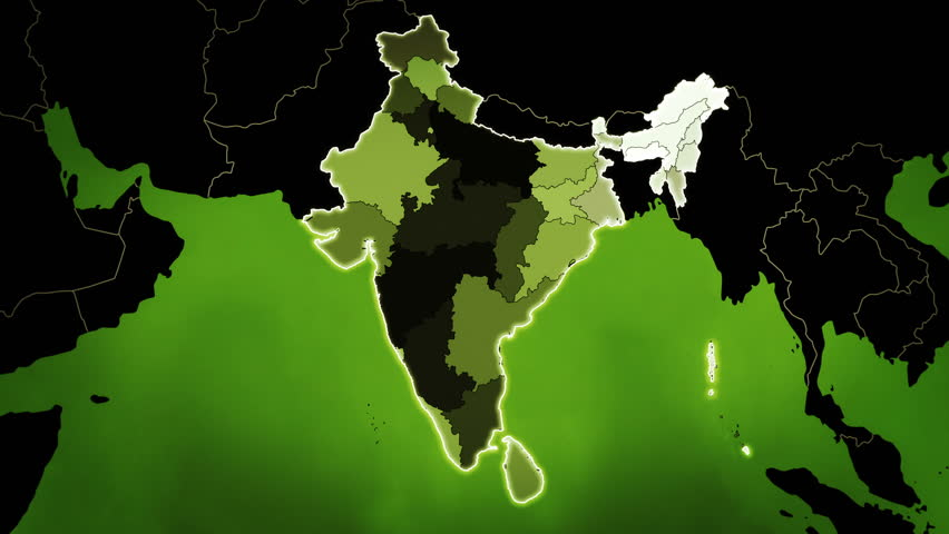 World map with India administrative divisions, airports and highways.  Green. | Shutterstock HD Video #33069502