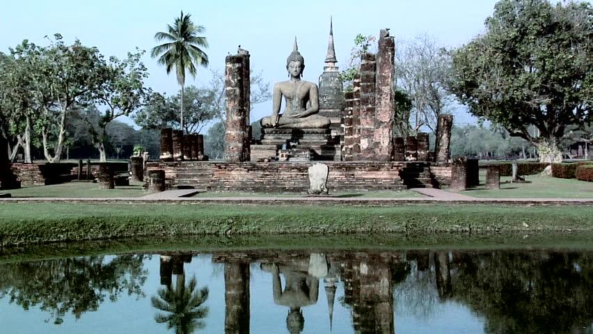 Buddha Statues at the Ruins of Wat Tra Phang Ngoen at the Historical Park of old Sukhothai
