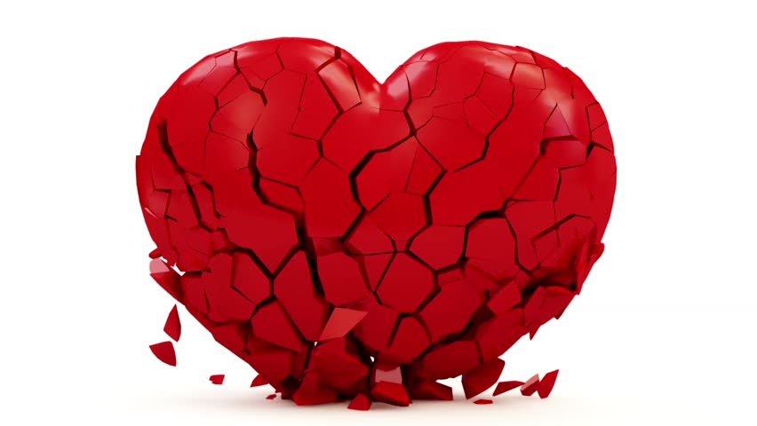 Animation of Broken Red Heart with Alpha Channel (HD)