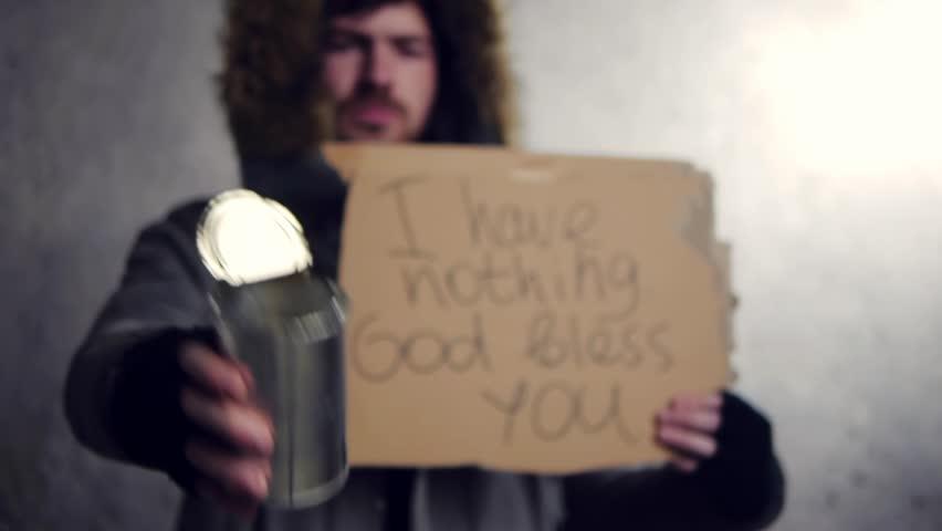 homeless man standing