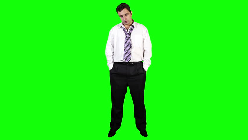 Young Businessman Bankrupt Full Body Greenscreen