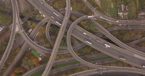 4K aerial footage of spaghetti junction m6 Birmingham. This footage is perfect for using as an intro for your content.