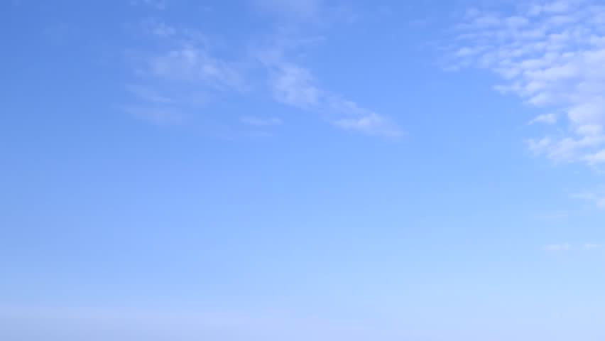 Blue skies sky, clean weather, time lapse nice horizon. Clouds timelapse, White big rolling mass. Full HD, 1920x1080.
