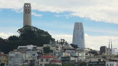 San Francisco Emerging Skyline. The new Salesforce Tower is now a visible landmark from every part of the city. Telegraph Hill in the foreground.