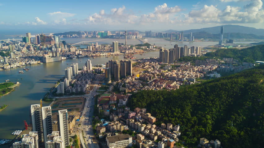Sunny sunset zhuhai city bay macau view aerial panorama 4k timelapse china | Shutterstock HD Video #33162403