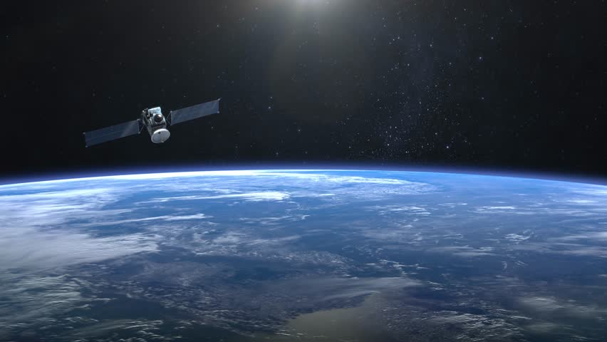 Satellite Orbiting Earth 3d Animation Stock Footage