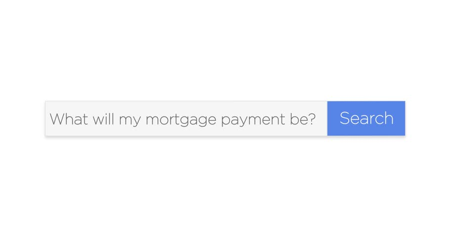 "A graphical web search box asking the question, ""What will my mortgage payment be?"" With optional luma matte."