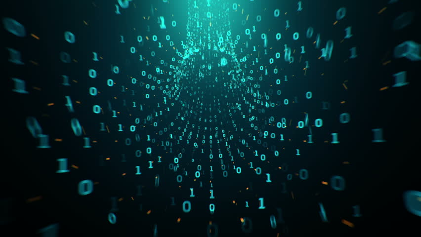 Abstract background with flying into digital tunnel from flickering particles, digits 0 and 1 as binary code and plexus of network. Animation of seamless loop. | Shutterstock HD Video #33194353