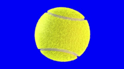 A loop able animation of a tennis ball spinning in slow motion on a blue screen background