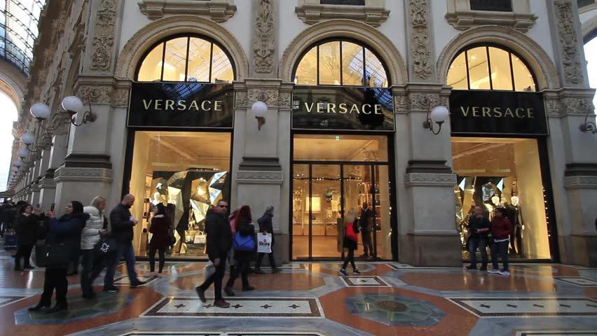MILAN, ITALY - OCTOBER 2015 - Versace Store In Galleria ...
